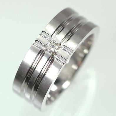 【ホワイトゴールド】K18WG・ダイヤモンド0.1ct メンズリング(指輪)  メンズ