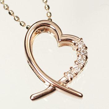 ダイヤモンド ネックレスピンクゴールド ネックレス K10PG・ダイヤ0.05ct オープンハートペンダント(ネックレス)
