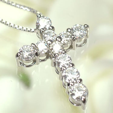 ダイヤモンド ネックレスプラチナ・ダイヤモンド1.0ct(Hカラー・VSクラス・H&C・鑑別書付) クロスペンダント(ネックレス)