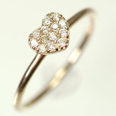 ダイヤモンド リング ピンクゴールド K18PG・ダイヤモンド0.10ct ハートパヴェリング(指輪) ダイヤモンド指輪