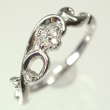 ダイヤモンド リング K18WG・ダイヤモンド0.04ct フラワーリング(指輪) ダイヤモンド指輪