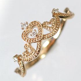 ダイヤモンド リング ピンクゴールド K18PG・ダイヤ0.03ct ラブリーリング(指輪) ダイヤモンド指輪