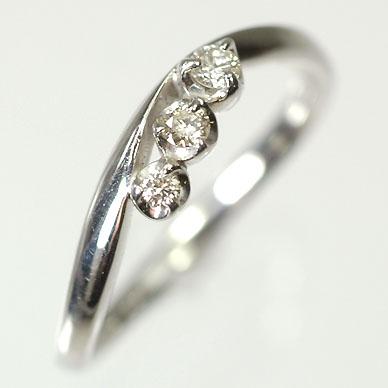 ダイヤモンド リング スリーストーン K18WG・ダイヤ0.1ct(SIクラス・鑑別書カード付) スリーストーンリング(指輪) ダイヤモンド指輪