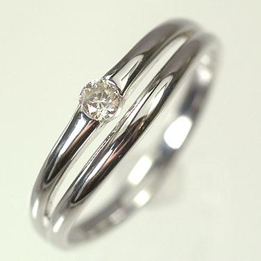 ダイヤモンド リング K10WG・ダイヤモンド0.10ct シンプルリング(指輪) ダイヤモンド指輪