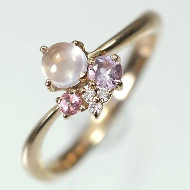 ピンクゴールド K18PG・アメジスト&RQZ&MS&ダイヤ マルチカラーリング(指輪) 送料無料 指輪