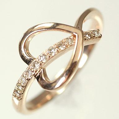 ダイヤモンド リング ピンクゴールド K10PG・ダイヤモンド0.11ct オープンハートリング(指輪) ダイヤモンド指輪