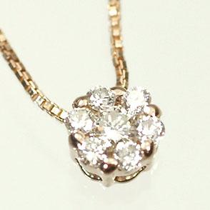 ダイヤモンド ネックレス ピンクゴールド ネックレス K18PG・ダイヤ0.1ct ミステリーフラワーペンダント(ネックレス)
