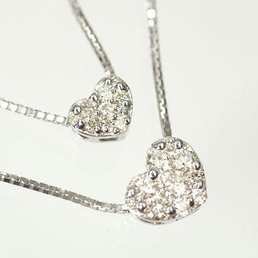 ダイヤモンド ネックレス K18WG・ダイヤ0.32ct(SIクラス・鑑別書カード付) 2連ハートパヴェペンダント(ネックレス)【あす楽対応】