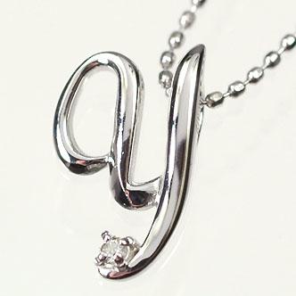 イニシャル ネックレス ダイヤモンド K10WG・ダイヤ0.03ct イニシャルペンダント「Y」(ネックレス)
