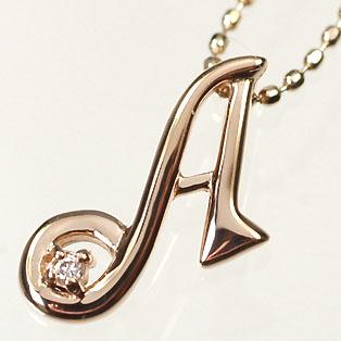 イニシャル ネックレス ダイヤモンド K10PG・ダイヤ0.03ct イニシャルペンダント「A」(ネックレス)