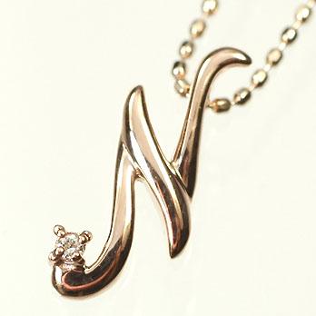 イニシャル ネックレス ダイヤモンド K10PG・ダイヤ0.03ct イニシャルペンダント「N」(ネックレス)