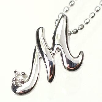 イニシャル ネックレス ダイヤモンド K10WG・ダイヤ0.03ct イニシャルペンダント「M」(ネックレス)