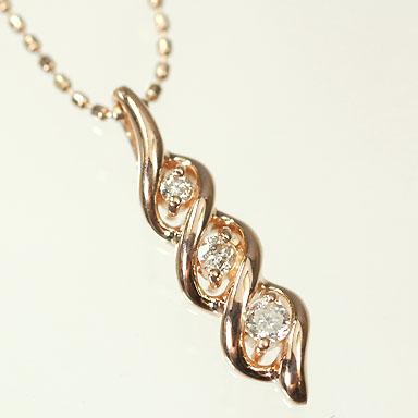 ダイヤモンド ネックレス ピンクゴールド 10PG・ダイヤ0.1ct スリーストーンペンダント(ネックレス)