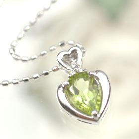 K18WG・ペリドット&ダイヤモンド ハートペンダント(ネックレス)
