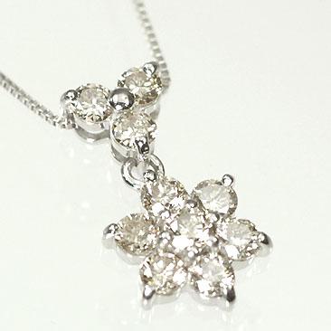 ダイヤモンド ネックレス K18WG・ダイヤモンド0.5ct アニバーサリー10ペンダント(ネックレス)【結婚10周年記念】【スウィート10石ダイヤモンド】