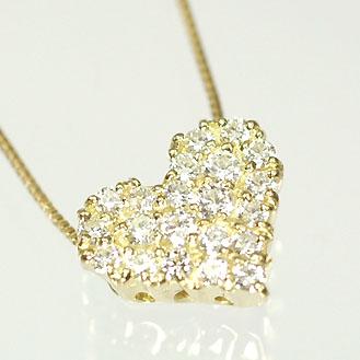 ダイヤモンド ネックレス イエローゴールド ハート&キューピッド K18・ダイヤモンド0.3ct(H&C・鑑別書付) ハートパヴェペンダント(ネックレス)