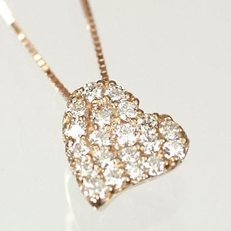 ダイヤモンド ネックレス ピンクゴールド ハート&キューピッド K18PG・ダイヤモンド0.25ct(H&C・鑑別書付) ハートパヴェペンダント(ネックレス)