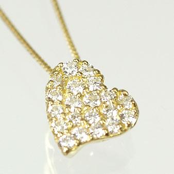 ダイヤモンド ネックレス イエローゴールド ハート&キューピッド K18・ダイヤモンド0.25ct(H&C・鑑別書付) ハートパヴェペンダント(ネックレス)