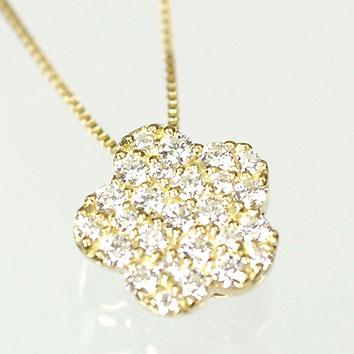 ダイヤモンド ネックレス イエローゴールド ハート&キューピッド K18・ダイヤモンド0.25ct(H&C・鑑別書付) フラワーパヴェペンダント(ネックレス)