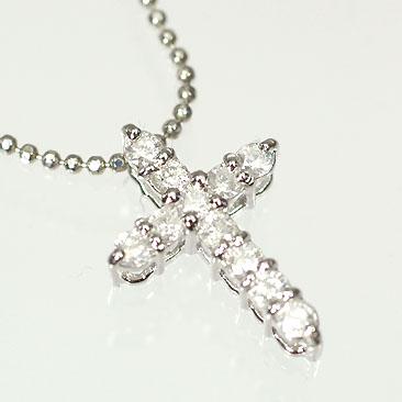 ダイヤモンド ネックレス 天然ダイヤペンダント(クロス) 0.3ct