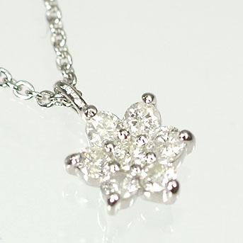 ダイヤモンド ネックレス 天然ダイヤモンドペンダント(フラワー) 0.3ct