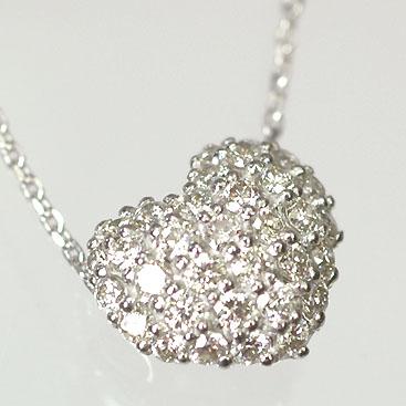 ダイヤモンド ネックレスK18WG・ダイヤ0.35ct ハートパヴェペンダント(ネックレス)