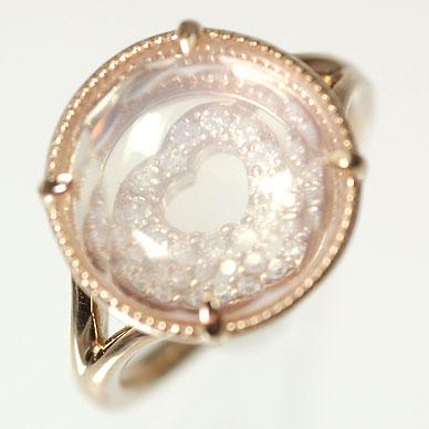 ダイヤモンド リング K18PG・ダイヤ0.06ct・ローズクォーツ レイヤードリング(指輪) 送料無料