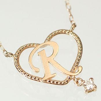 イニシャル ネックレス ダイヤモンド ネックレス選べるカラー!ダイヤがぶら下がるイニシャルハートペンダント 「R」