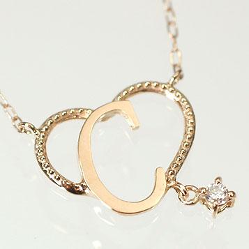 イニシャル ネックレス ダイヤモンド ネックレス選べるカラー!ダイヤがぶら下がるイニシャルハートペンダント 「C」