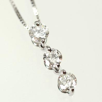 ダイヤモンド ネックレス スリーストーン K18WG・ダイヤ0.3ct(鑑別書カード付) スリーストーンペンダント(ネックレス)