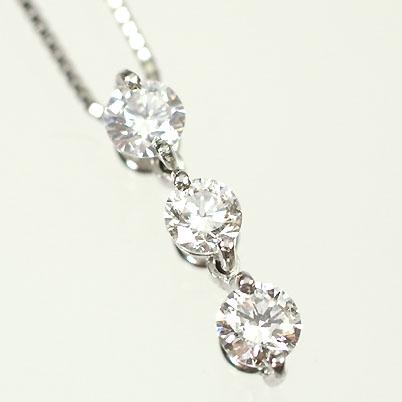 プラチナ ダイヤモンド ネックレス トリロジー プラチナ・ダイヤ0.3ct(Hカラー・SI・鑑定書カード付) スリーストーンペンダント(ネックレス)