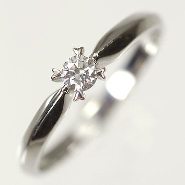 婚約指輪 プラチナ ダイヤモンド リング 一粒 プラチナ・ダイヤモンド0.1ct(Hカラー・SIクラス・鑑定カード付) ハート爪リング(指輪)