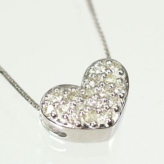 ダイヤモンド ネックレス K10WG・ダイヤ0.1ct ハートパヴェペンダント(ネックレス)