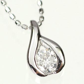 ダイヤモンド ネックレスK18WG・ダイヤモンド0.2ct シンプルペンダント(ネックレス)