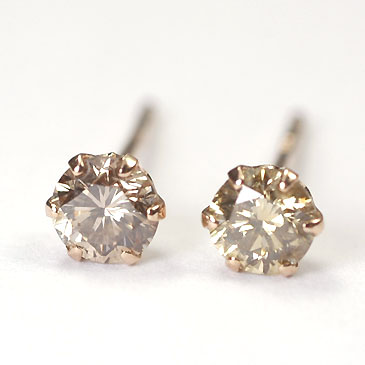 K18pg Brown Diamond 0 3 Ct Stud Earrings Pink Cod Free 50 Following