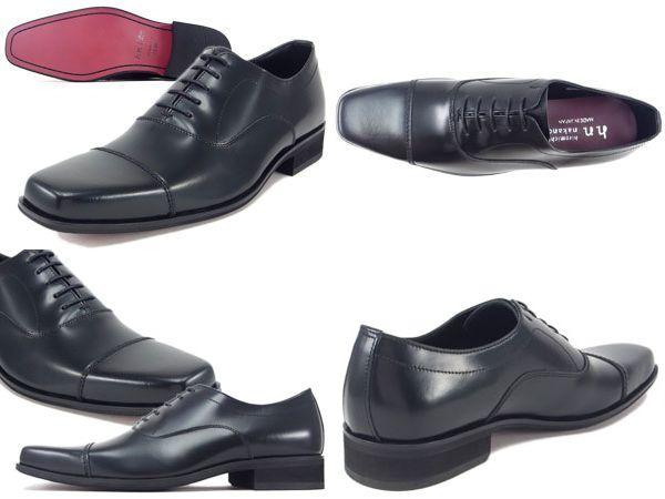 【132HACJEB】【hiromichi nakano】【送料無料】【牛革】【日本製】【キングサイズ】アッパー全て牛革☆  スクエアトウ ストレートチップビジネスシューズ紳士靴