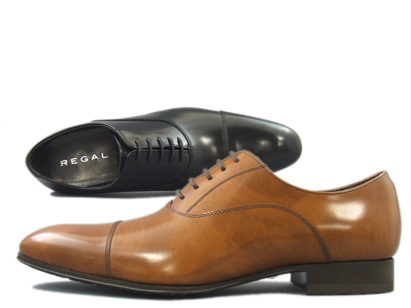 【011RBA4】【REGAL】【送料無料】【日本製】アッパー全て本革☆【雪道対応ソール】 スタイリッシュなシルエット!長めの木型のストレートチップビジネスシューズ紳士靴
