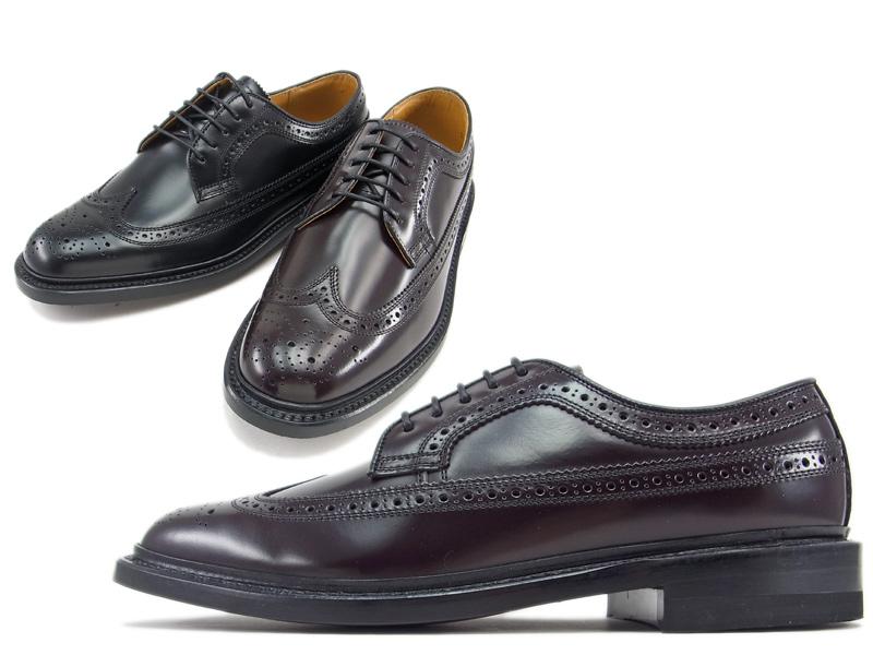 【2589N】【REGAL】【送料無料】【日本製】アッパー全て本革☆ロングラン  型押し加工 ウイングチップビジネスシューズ紳士靴