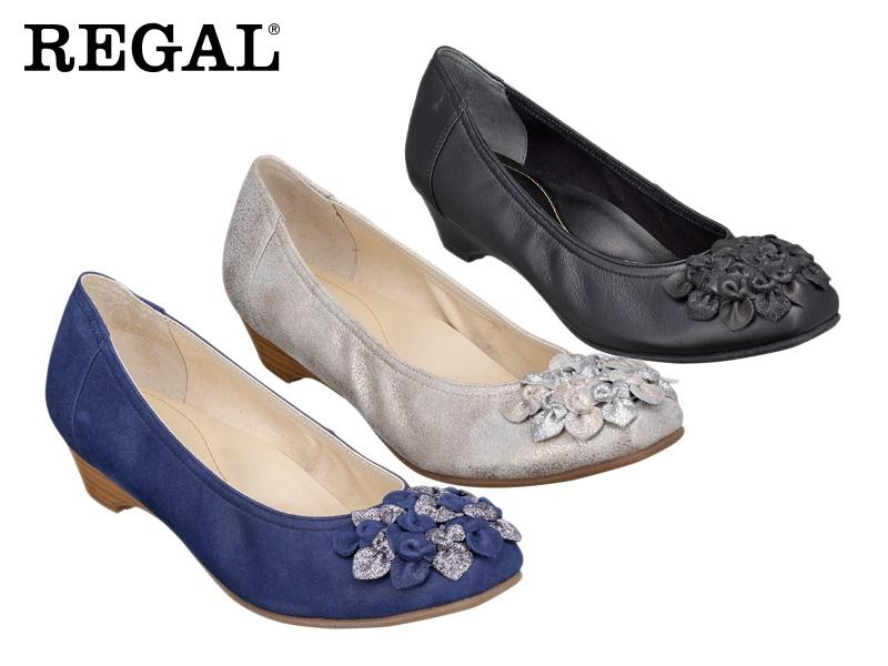 【F09JAF】【Regal】【送料無料】【日本製】牛革 ☆上品な綺麗め小花飾りパンプス  婦人靴