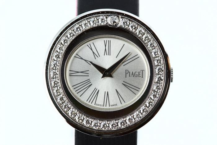 ピアジェ ポセション 腕時計 ベゼルダイヤ サテンベルト K18WG 18金ホワイトゴールド クォーツ【レディース】【送料無料】【中古】