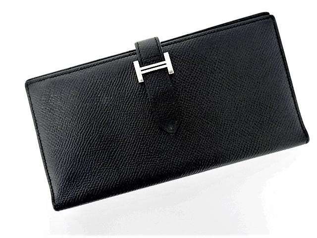 【中古】財布 レディース財布 エルメス ベアンスフレ 二つ折り長財布 ヴォーエプソン A刻印 2017年製 ブラック 黒