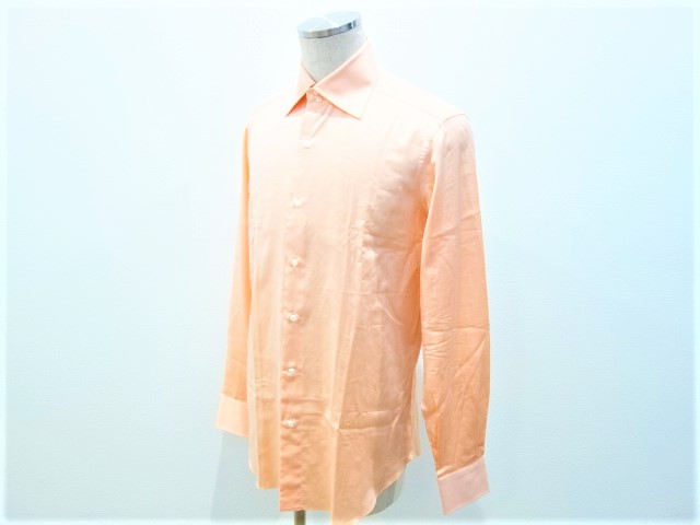 【メンズ】フライ FRAY メンズ 長袖シャツ オレンジ系 イタリア製 コットン100% 表記サイズ 40 15 3/4 Lサイズ 高級シャツ マシンメイド 男性用 【極美品】【送料無料】
