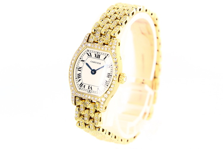 【中古】腕時計 レディース時計 時計 カルティエ トーチュSM 純正フルダイヤ CR82470185 クォーツ K18 18金ゴールド ホワイト 白文字盤