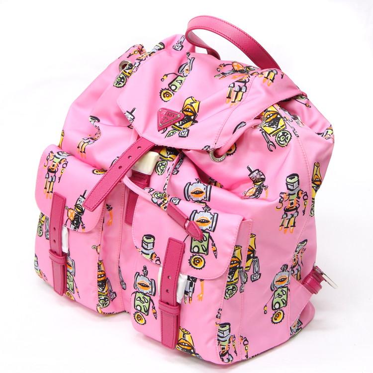【未使用品】バッグ レディースバッグ リュックサック ロボットプリント バックパック テスート ナイロン サフィアーノ レザー ピンク ブランドバッグ