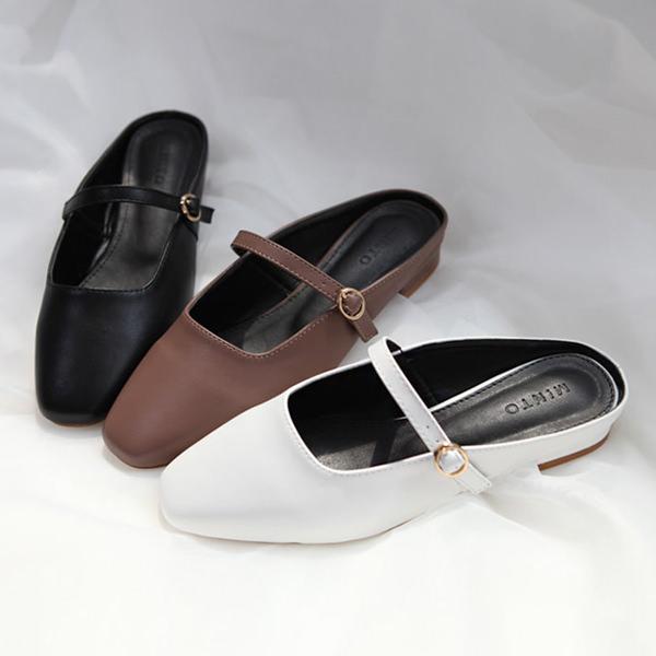 パンプス フラット フロントストラップ ブラック ワインレッド ホワイト ぺたんこ ペタンコ レディース 靴 婦人靴