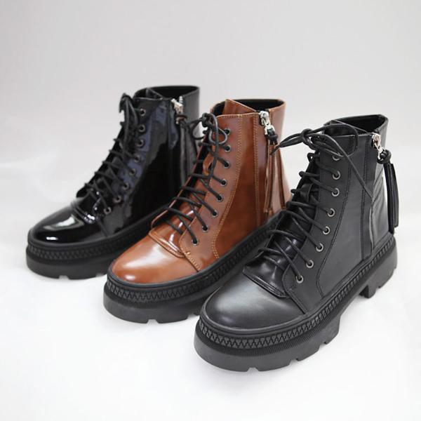 ショートブーツ レディース 厚底 ヒール レースアップ サイドジップ 黒 ブラック ブーティ 靴 婦人靴 つやあり ブラウン