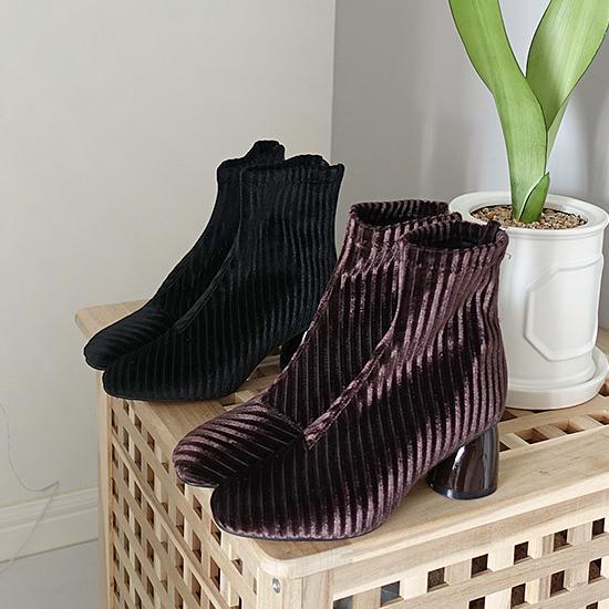ショートブーツ レディース ヒール ベルベット 黒 ブラック ベージュ グレー ブラウン ローヒール ブーティ 太ヒール 靴 婦人靴