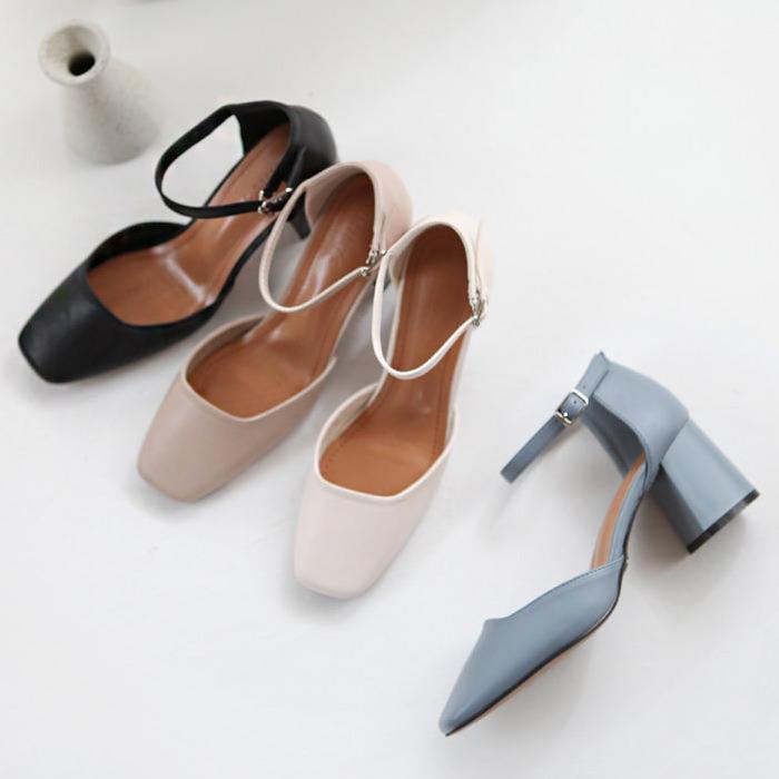 パンプス アンクルストラップ レディース 太ヒール チャンキーヒール 黒 ブラック アイボリー ベージュ 靴 婦人靴 歩きやすい