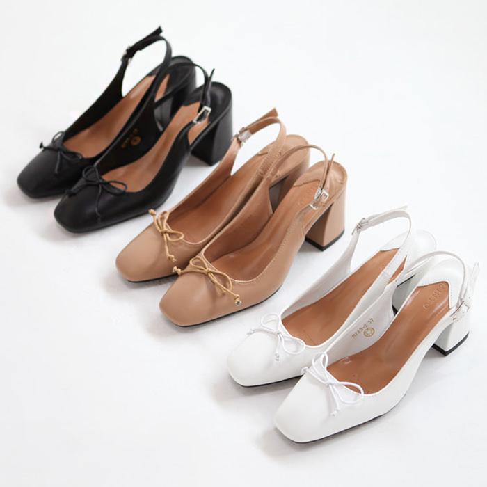 パンプス バックストラップ 太ヒール 黒 ブラック ホワイト ベージュ レディース 靴 婦人靴