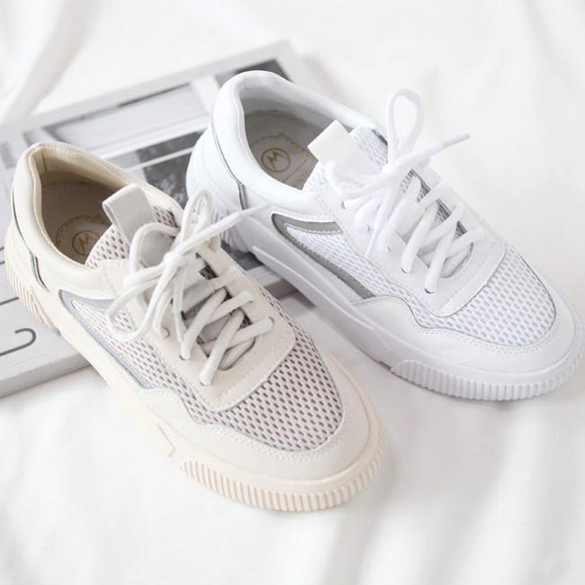 スニーカー レディース 厚底 ダッドシューズ ダットスニーカー ベージュ ホワイト 婦人靴 シューズ シンプル